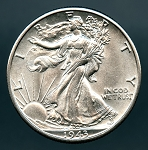 1943 D Walking Half Dollar AU 58