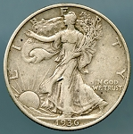 1936-D Walking Half Dollar VF-20