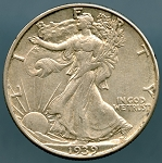 1939 D Walking Half Dollar XF 45