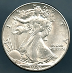 1941 D Walking Half Dollar MS 60