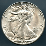 1941 D Walking Half Dollar MS 63
