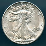 1944 Walking Half Dollar AU 50