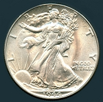 1944 Walking Half Dollar Choice B.U. MS-64