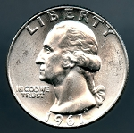 1961 D Washington Quarter MS 63
