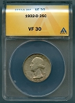1932 D Washington Quarter ANACS VF 30