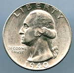 1940 Washington Quarter MS 60