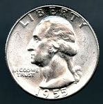 1955 Washington Quarter Choice B.U. MS-63