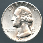 1941 S Washington Quarter Choice B.U. MS-65