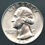 1947 Washington Quarter MS 63 plus