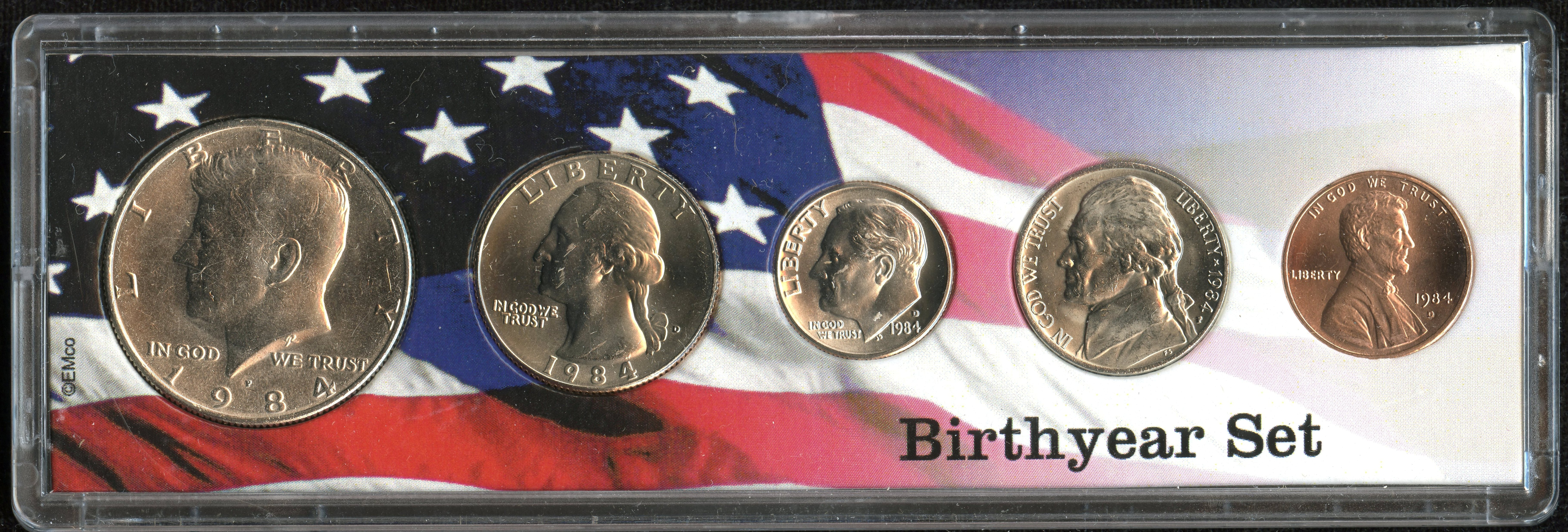 1984 Birth Year Coin Set in American Flag Holder 5 Coin Set