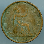 Great Britain 1865 One Penny  Fine  KM-749.2