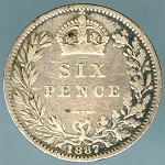 Great Britain 1887 Six Pence  VG KM-759