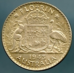 Australia 1943 Florin XF cuts on obverse KM # 40
