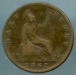 Great Britain 1862 Half Penny G/VG KM# 748.2
