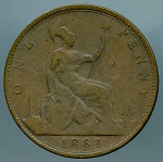 Great Britain 1881 H Penny G/VG  KM# 755