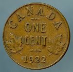 Canada 1922 Cent VG  KM-28