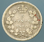 Canada 1900 wide 0's   Nickel VG KM 2