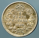 Canada 1909 Round leaves Nickel VF KM 13