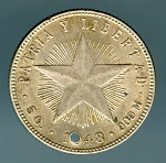 Cuba 1948 20 Centavos XF details hole in date KM 13.2