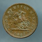 Canada Upper Canada 1857  One Penny Bank Token VF  KM#Tn3