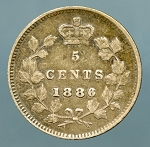 Canada 1886 small 6 Nickel  VF KM-2