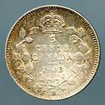 Canada 1903-H small H Nickel  XF KM-13