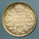 Canada 1908 large 8 Nickel  VF KM-13