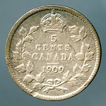Canada 1909 pointed leaves  Nickel Fine cleaned KM-13