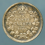 Canada 1910 rounded leaves Nickel  XF KM-13