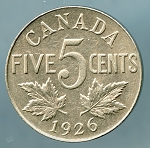 Canada 1926 near 6  Nickel  XF KM-29