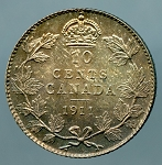Canada 1911 10 Cents MS-63 toned KM-17