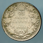 Canada 1906  Quarter VG Large Crown KM # 11