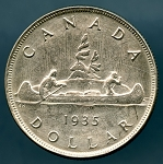 1935 Canada Dollar XF details cleaned  KM # 30