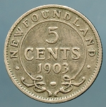 Canada Newfoundland 1903  5 Cents KM 7 Good