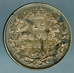 1871-H Canadian Quarter Obverse # 2 KM 5 XF