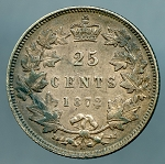 1872 H Canadian Quarter Large 2 KM 5  XF