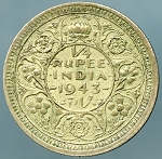 India-British 1943 1/4 Rupee KM 546 XF