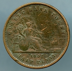 Canada- Quebec Bank Token 1852 Half Penny KM Tn20 Good
