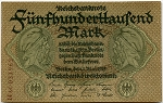 1923 Germany 500000 Mark P88b - Cut from note