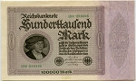 1923 100,000 Mark Germany Reichsbanknote