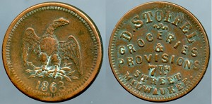 1863 Civil War Store Card / D. Stoffel Groceries & Provisions 7th. Street Milwaukee Circulated