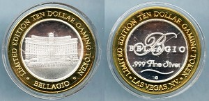 Token Bellagio .999 Fine Silver Ten Dollar Gaming Token / Bellagio Fountain Proof