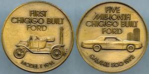Token 1972 Five Millionth Chicago Built Ford Galaxie 500 / First Chicago Built Ford Model T 1914 AU