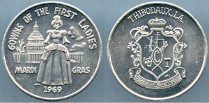 Token Gowns of the First Ladies Mardi Gras 1969 / Thibodaux, LA. Mint State
