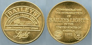 Token 1992 Baileys Light introduced into the United States Mint State