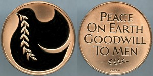 Medal 1983 / Franklin Mint / Peace on Earth Goodwill to Men Proof