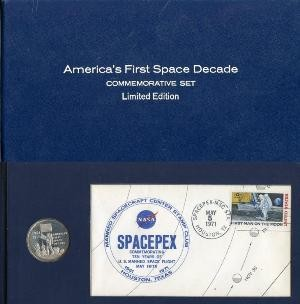 1971   America's First Space Decade Commemorative Set, Limited Edition.  Danbury Mint - Postal Commemorative Society.