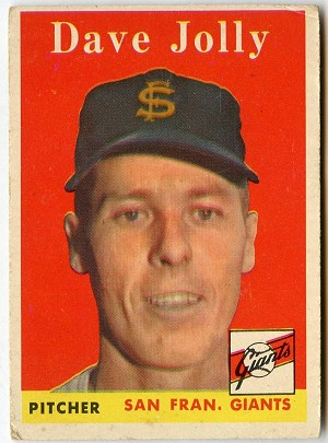 1958 Topps #183 Dave Jolly, San Francisco Giants VG-EX OF