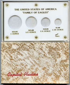 Capital Plastics  - Family of Eagles - 4 Coin Gold American Eagle holder - White