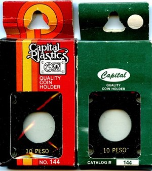 "Capital Plastic #144 Holder ""10 Peso"" Mexico Gold - Black - Close out"